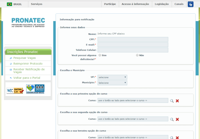 Inscrição Pronatec EAD 2022